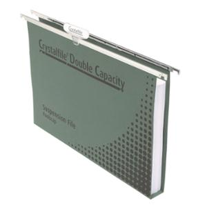 CRYSTALFILE DOUBLE CAPACITY SUSPENSION FILE GREEN - PACK OF 10