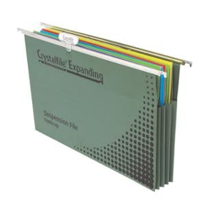 CRYSTALFILE EXPANDING SUSPENSION FILE FOOLSCAP GREEN - BOX OF 10