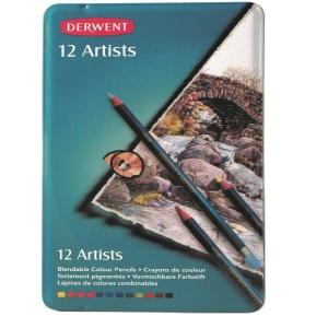 DERWENT ARTIST COLOURED PENCILS WITH TIN - SET OF 12