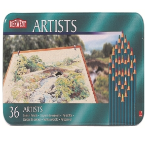 DERWENT ARTIST COLOURED PENCILS WITH TIN - SET OF 36