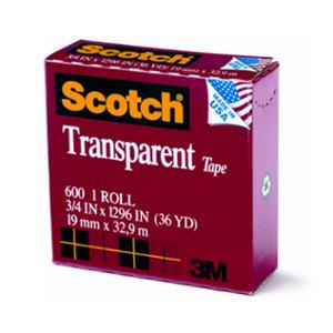 3M SCOTCH 600 TRANSPARENT TAPE 19MM X 33M BOXED