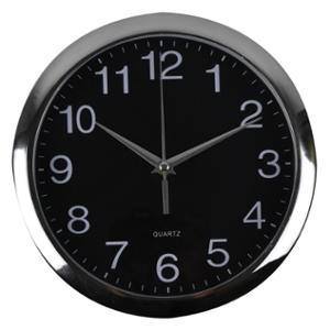 ITALPLAST ROUND WALL CLOCK 30CM BLACK FACE WITH SILVER TRIM - EACH