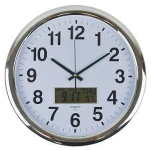 ITALPLAST ROUND WALL CLOCK WITH DIGITAL DISPLAY 43CM  WHI WITH SILVER TRIM-EACH