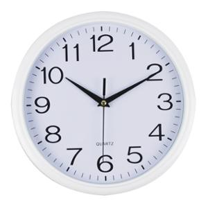 ITALPLAST ROUND WALLCLOCK 30CM WHITE FACE WITH WHITE TRIM - EACH