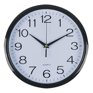ITALPLAST ROUND WALL CLOCK 30CM WHITE FACE WITH BLACK TRIM - EACH