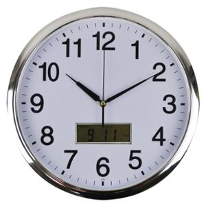 ITALPLAST ROUND WALL CLOCK WITH DIGITAL DISPLAY 36CM WHITE WITH SILVER TRIM-EACH