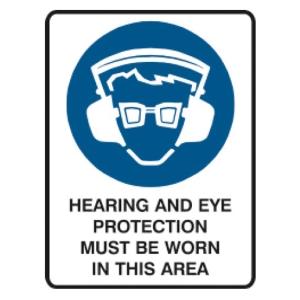 TRAFALGAR SELF-ADHESIVE  HEARING & EYE PROTECTION  SIGN 180MM X 250MM - EACH