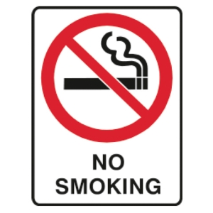 TRAFALGAR SELF-ADHESIVE   NO SMOKING  180MM X 250MM SIGN - EACH