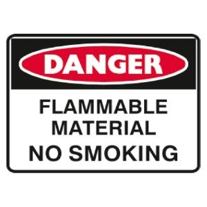 TRAFALGAR SELF-ADHESIVE   DANGER FLAMMABLE MATERIAL  250MM X 180MM SIGN - EACH