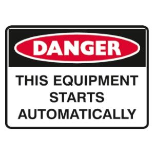 TRAFALGAR SELF-ADHESIVE   DANGER EQUIPMENT STARTS  250MM X 180MM SIGN - EACH