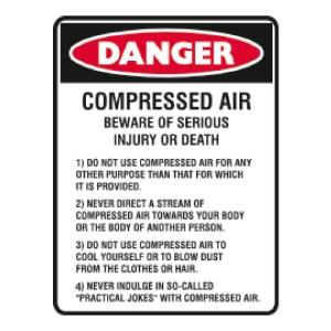 TRAFALGAR SELF-ADHESIVE   DANGER COMPRESSED AIR  250MM X 180MM SIGN - EACH