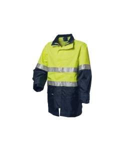 WORKSENSE 4 IN 1 COMBO POLY HIVIS WATERPROOF JACKET MEDIUM YELLOW/NAVY - EACH