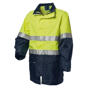 WORKSENSE 4 IN 1 COMBO POLY HIVIS WATERPROOF JACKET LARGE YELLOW/NAVY - EACH
