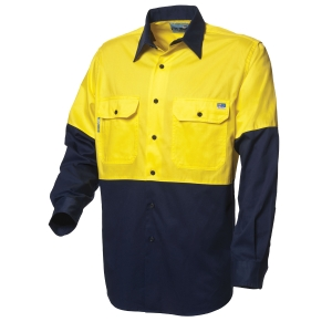 WORKSENSE COTTON DRILL 190GSM LONG SLEEV SHIRT MEDIUM YELLOW/NAVY - EACH