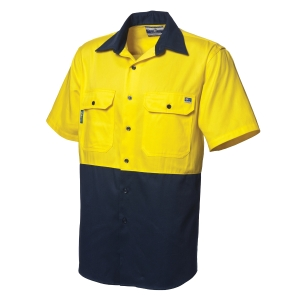WORKSENSE COTTON DRILL 190GSM SHORT SLEEVE SHIRT X-LARGE YELLOW/NAVY - EACH