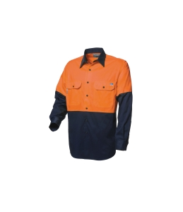 WORKSENSE COTTON DRILL 190GSM SHORT SLEEVE SHIRT MEDIUM ORANGE/NAVY - EACH