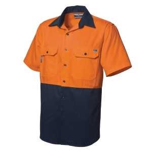 WORKSENSE COTTON DRILL 190GSM SHORT SLEEVE SHIRT LARGE ORANGE/NAVY - EACH