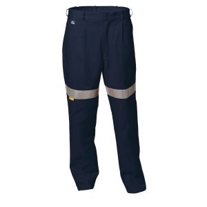 WORKSENSE 320GSM COTTON DRILL TAPED WORK TROUSERS SZ 117 SHORT NAVY - EACH