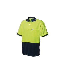 WORKSENSE KOOLMESH POLY/COTTON SHORT SLEEVE POLO SHIRT MEDIUM YELLOW/NAVY - EACH