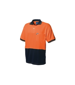 WORKSENSE KOOLMESH POLY/COTTON SHORT SLEEVE POLO SHIRT MEDIUM ORANGE/NAVY - EACH