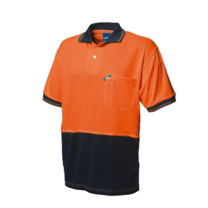 WORKSENSE KOOLMESH POLY/COTTON SHORT SLEEVE POLO SHIRT LARGE ORANGE/NAVY - EACH