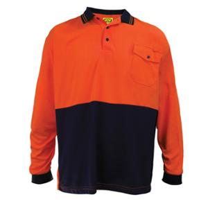 WORKSENSE KOOLMESH POLY/COTTON LONG SLEEVE POLO SHIRT LARGE ORANGE/NAVY - EACH