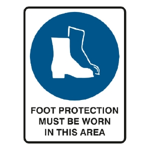 TRAFALGAR MANDATORY  FOOT PROTECTION MUST BE WORN  SIGN 300MM X 450MM - EACH