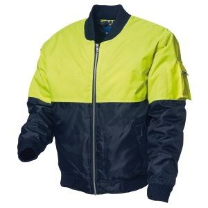 WORKSENSE POLYESTER HIVIS ZIP UP FLYING JACKET LARGE LIME/NAVY - EACH
