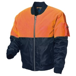 WORKSENSE POLYESTER HIVIS ZIP UP FLYING JACKET LARGE ORANGE/NAVY - EACH