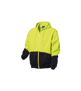 WORKSENSE POLYESTER HIVIS ZIP UP FLEECE HOODIE MEDIUM YELLOW/NAVY - EACH