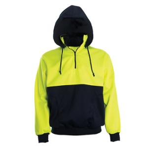 WORKSENSE POLYESTER HIVIS ZIP UP FLEECE HOODIE LARGE YELLOW/NAVY - EACH