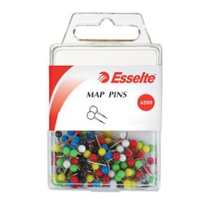 ESSELTE PINS MAP ASSORTED COLOUR - BOX OF 200