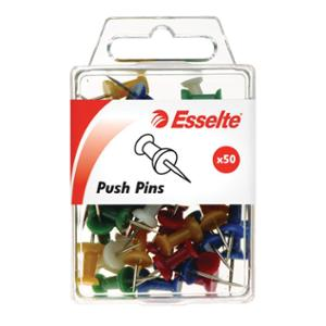ESSELTE PINS PUSH ASSORTED - BOX OF 50