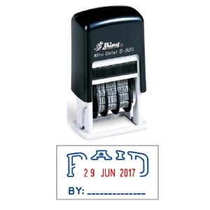 SHINY SELF-INKING  PAID  DATER STAMP 4MM BLUE & RED INK - EACH