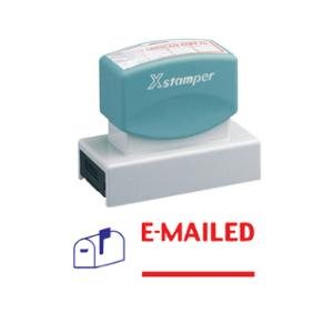 X-STAMPER 2 COLOUR FINISHED STAMP 2025 PRE-INKED  E-MAILED  BLUE/RED - EACH