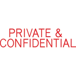 SHINY SELF-INKING  PRIVATE & CONFIDENTIAL  STAMP RED INK - EACH