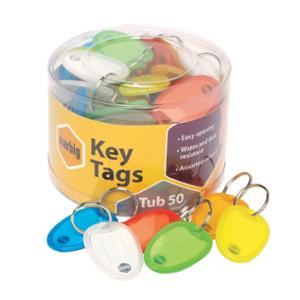 MARBIG PLASTIC KEY TAG TRANSPARENT ASSORTED COLOURS - TUB OF 50