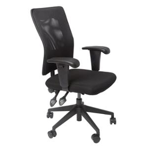 RAPIDLINE MESH OPERATOR CHAIR 3 LEVER SQUARE BACK WITH ARMS BLACK  - EACH