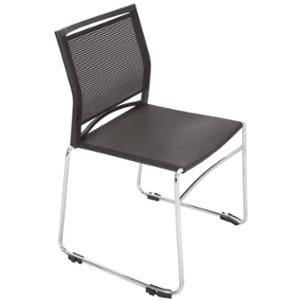 RAPIDLINE MESH BACK SLED BASE VISITORS CHAIR LINKING BLACK  - EACH