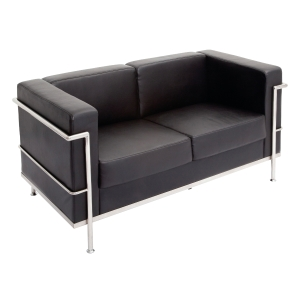 RAPIDLINE SPACE TWO SEATER RECEPTION SOFA PU BLACK  - EACH