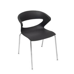 RAPIDLINE TAURUS POLY CHAIR WITH CHROMED METAL LEG BLACK  - EACH