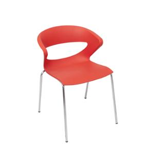 RAPIDLNE TAURUS POLY CHAIR WITH CHROMED METAL LEG RED  - EACH