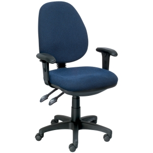 SEATING SOLUTIONS ERGO100 HIGH BACK TASK CHAIR W/ARMS NAVY - EACH