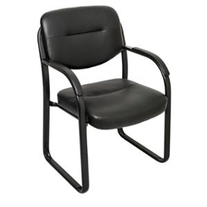 RAPIDLINE SLED BASE CHAIR WITH ARMS BLACK PU  - EACH