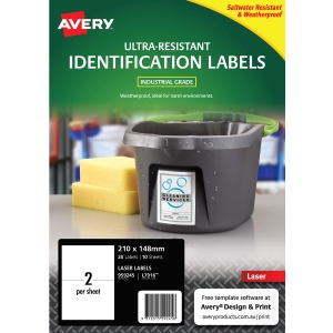 AVERY L7916 ULTRA HEAVY DUTY LABELS 210X148MM WHITE - PACK OF 10