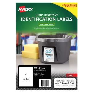AVERY L7917 ULTRA HEAVY DUTY LABELS 210 X 297MM WHITE - PACK OF 10