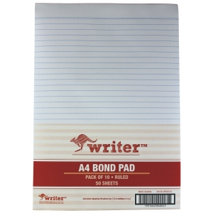 NOTE PAD A4 50 SHEET RULED BOND WHITE - BOX OF 10