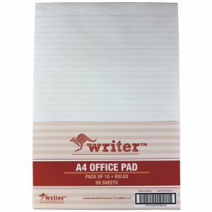 NOTE PAD A4 50 SHEET RULED WHITE - BOX OF 10
