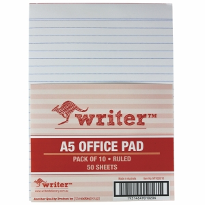 NOTE PAD A5 50 SHEET RULED WHITE - BOX OF 10