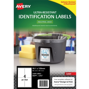 AVERY L7915 ULTRA HEAVY DUTY LABELS 99.1X139MM WHITE - PACK OF 10